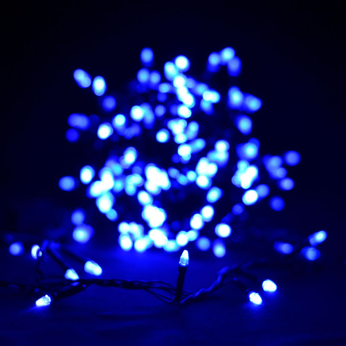"""Гирлянда """"Проводная"""" свеча 500Led, черный шнур Синий (арт.LS-500B-2)"""
